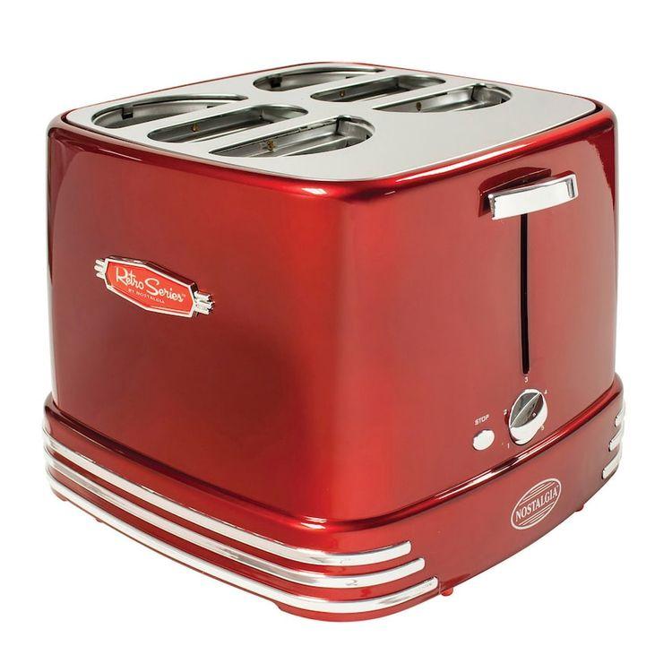 Nostalgia Electrics Nostalgia RHDT800RETRORED Retro Series 4-Slot Pop-Up Hot Dog Toaster