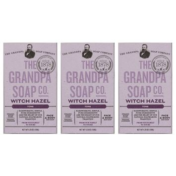 Grandpa's Witch Hazel Bar Soap Soft and Gentle 4.25 Ounce (3-pack)