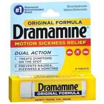 Dramamine Motion Sickness Relief Original Formula, 12 Count (PACK OF 2)