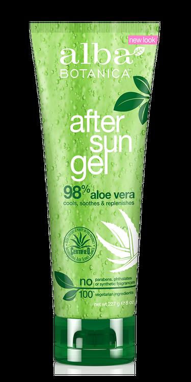 Alba Botanica After Sun 98% Aloe Vera Gel, 8 OZ.