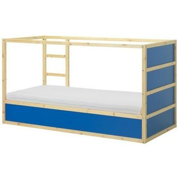 Ikea Kura Children's Reversible Bed Dark Blue / White Pine Wood