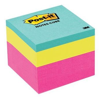 Post-it® Notes Cube, 1 7/8 in. x 1 7/8 in., Pink Wave, 400 Sheets/Cube