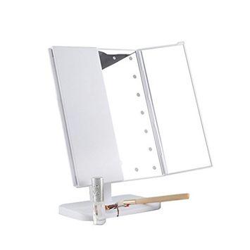 Pevor Makeup Mirror Cosmetic Mirror, Portable Three Folding Table LED Lamp Luminous Makeup Mirror Cosmetic Mirror Adjustable Tabletop Light Mirror Home Hotel Mirror