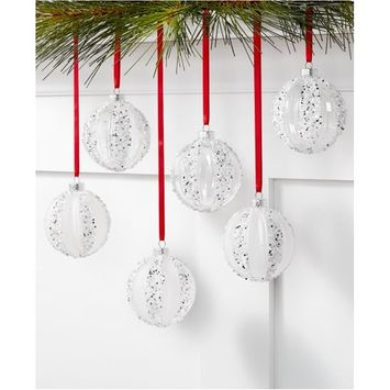 Shine Bright Set of 6 Shatterproof Frost White Ornaments, Created for Macy's