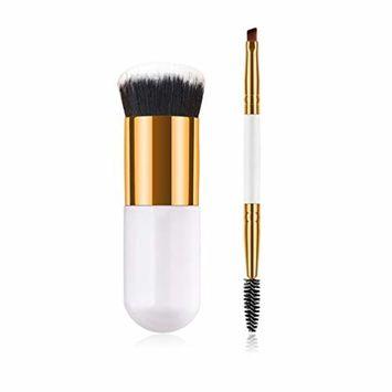 Start_wuvi Makeup Brushes Set 1PCS Plastic Handle Chubby Make Up Brush 1PCS Double-End Eyebrow Eyelash Brush Pro Premium Synthetic Blusher Foundation Powder Cosmetic Brushes(White G