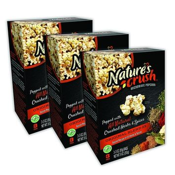 Nature's Crush Natural Microwave Popcorn, 23 Herbs Blend - Original Mix of 23 Seasonings, Gourmet Crushed Herbs and Spices (3 boxes)