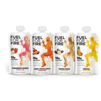 Fuel For Fire - Fruit & Protein Smoothie Squeeze Pouch 4.5 oz - 9 Ingredients - Perfect for Workouts, Kids, Snacking - Gluten-Free, Soy-Free, Kosher, No Added Sugar (Variety - Team Sports, 24-Pack)