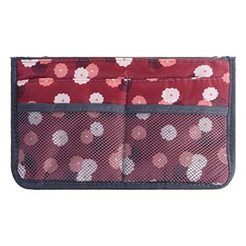 BCP Multifunctional Purse Insert Organizer Pouch Travel Cosmetic Toiletry Storage Bag Handbag 13 Pockets with Zipper and Handles