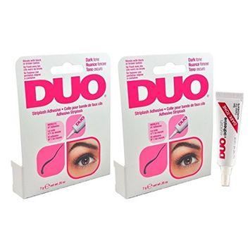 DUO Eyelash Adhesive DARK TONE For Strip Lashes world's best selling adhesive! - Size 0.25oz 7g (Pack 2)