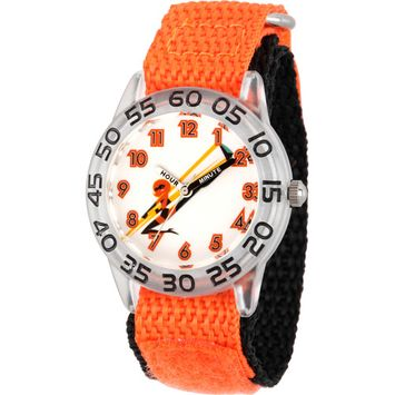 Incredibles Helen Parr Boys' Clear Plastic Time Teacher Watch,Orange Hook and Loop Nylon Strap with Black Backing