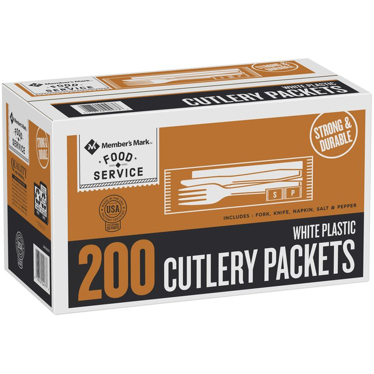 Members Mark™ Food Service White Plastic Cutlery Packets 200 ct Box