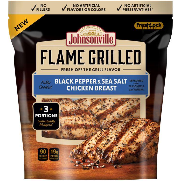 Johnsonville Flame Grilled Black Pepper & Sea Salt Chicken Breast 9oz zip pkg (102666)