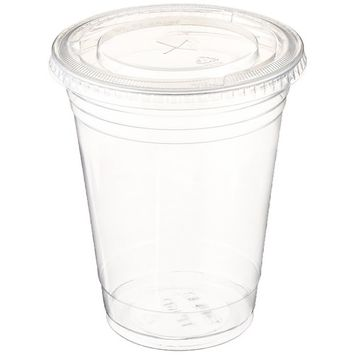 Table To Go Disposable Clear Plastic Cups with Flat Lids (100 Glasses & 100 Lids Pack/ 24 oz)