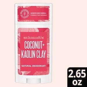 Schmidt's Kaolin Clay + Coconut, for Sensitive Skin, Aluminum-Free Natural Deodorant Stick - 2.65oz