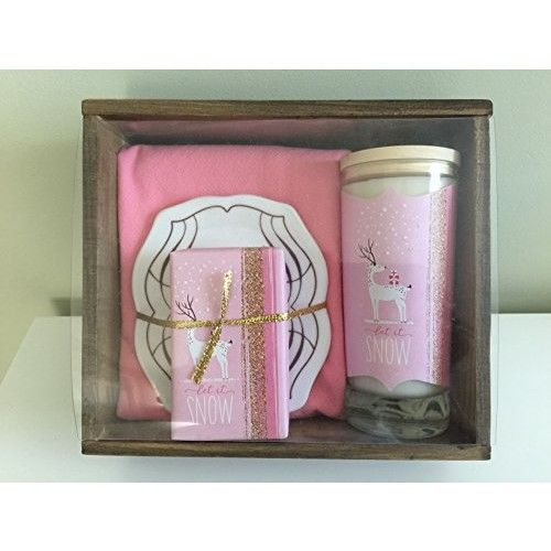 """Love and Luck Greetings""""Let it Snow"""" Gift Set: Organic Soap, Soy Candle, Porcelain Soap Dish and Hand Towel"""
