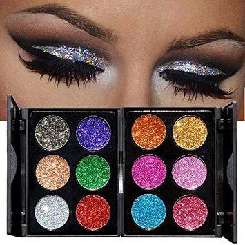 Huayang| 6-Color Sequins Diamond Glitter Shiny Eyeshadow Palette Eye Shadow Powder Makeup Cosmetics Set