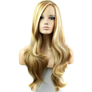Beshiny Hair Wigs Blonde To Brown Mixed Wigs Long Curly wigs Two Tone Color Wigs for Women 28.5In