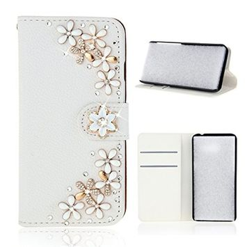 Samsung Galaxy A6 Plus 2018 Case, Scheam Leather Case 3D Diamond Bling Shining Case Wallet Case Credit Card Slot Kicktand Flip Cover Shockproof Protective Case for Galaxy A6 Plus 2018 (Flower)