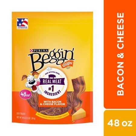 Purina Beggin' Strips Dog Training Treats, Bacon & Cheese Flavors, 48 oz. Pouch