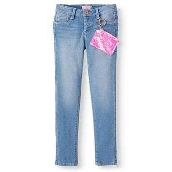 Squeeze Skinny Jean with Flip Sequin Pouch (Little Girls & Big Girls) [name: actual_color value: actual_color-lightwash]