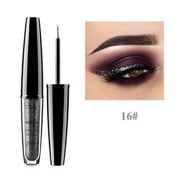 Pudaier 16 Colors Professional Makeup Waterproof Magnificent Metals Glitter and Glow Liquid Eyeliner Eyeshadow