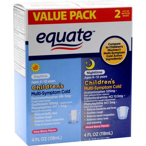 Equate Children's Daytime/Nighttime Multi-Symptom Cold Relief Suspension, 4 Oz, 2 Pk