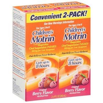 2 Combo Pack Children's Motrin Ibuprofen Pain Fever Reliever Original Berry Flavor
