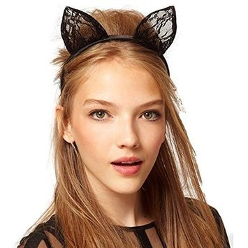 EYX Formula Korean Lace Cat ear styling hair bands for Party and Masquerade,Black cute Styling hair bands for Wedding photography