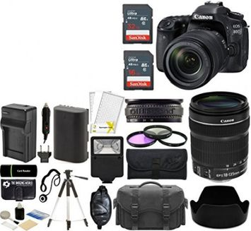 Canon EOS 80D Digital SLR 24.2MP Wi-Fi Camera Kit with EF-S 18-135mm IS USM Lens + SanDisk 32GB & 16GB Card + Case + Flash + Tripod + Grip + Spare Battery & Charger + Filters - 48GB Accessories Bundle