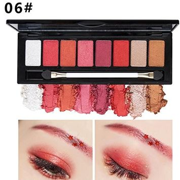 Binmer(TM) 8 Color Nude Makeup Eye Shadow Palette Smoky Glitter Matte Make Up Brush Tool