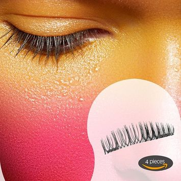 Magnetic Eyelashes, Verebeauty False Eyelashes with Double Magnet, Glue Free, Thin Black Long Charming Eyelashes Natural Reusable Eyelashes Extension , Natural Look Fiber Eyelashes (4 piece)