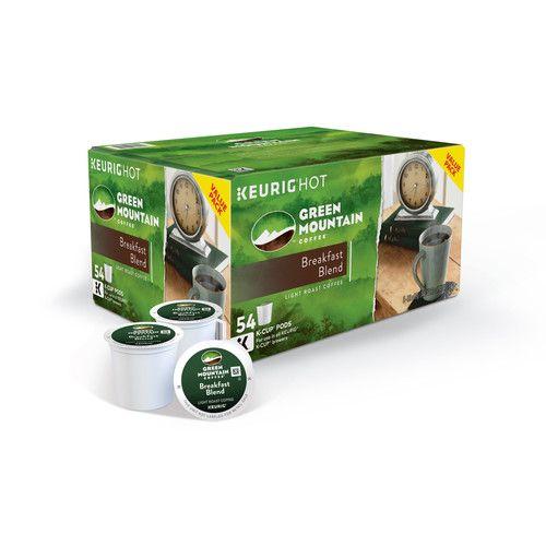 Green Mountain Coffee Breakfast Blend Single-Serve K-Cup Pods, Light Roast Coffee, 54 Count