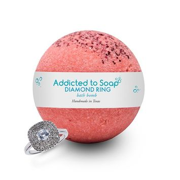 Addicted to Soap – Diamond Ring Bath Bomb | Ultra Luxurious - Extra Large 6oz Bath Bomb with STERLING SILVER RING Surprise Inside - Organic & Sensual Relaxation Handmade with Love in Texas