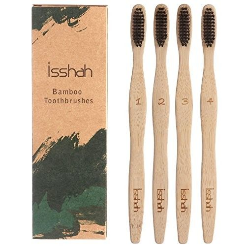 Isshah ECO- Friendly Biodegradable Organic Natural Bamboo Ergonomic Handle Charcoal Toothbrush Infused Individually Numbered, Pack of 4