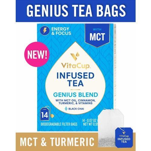 VitaCup Genius Blend Infused Tea 14 ct | Keto | Paleo | Whole 30 | Chai Black Tea with MCT, Cinnamon, Turmeric & Vitamins Helps Boost Focus, Metabolism & Energy
