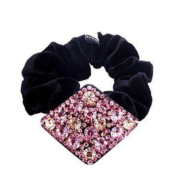 Fancyin Luxury Pink Crystal Rhombic rhinestones accessories Elastic hair band ties