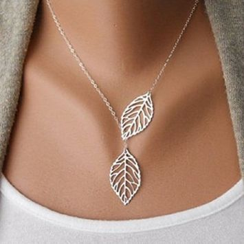 Nobio Women's New Simple Necklace Metal Double Leaf Pendant Alloy Choker Chain