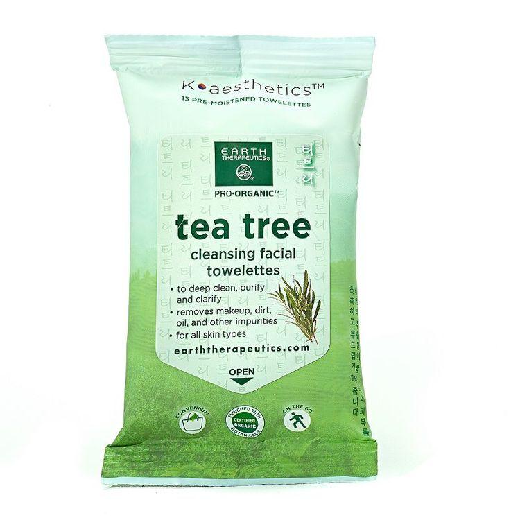 Earth Therapeutics 15-pk. Organic Tea Tree Cleansing Facial Towelettes