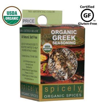 Spicely Organic Seasoning Greek 0.20 Ounce ecoBox Certified Gluten-Free