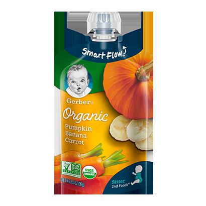 Gerber 2nd Foods Organic Baby Food Pumpkin,Banana & Carrot 3.5 oz. Pouch