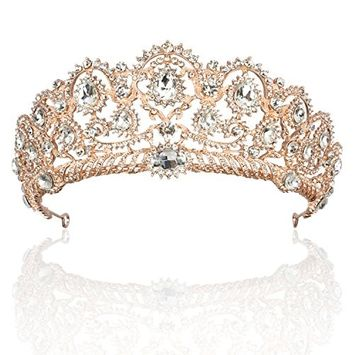 Rhinestone Crystal Bridal Crowns Tiaras Prom Queen Crown Pageant Crowns Princess Crown for Women, Rose Gold