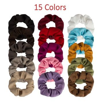 Exacoo Hair Scrunchies Suede Elastics Scrunchy Hair Bobbles Hair Bands Hair Ties Headbands For Women and Girls, 15 Pieces