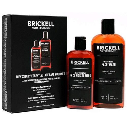 Brickell Men's Daily Essential Face Care Routine I - Gel Facial Cleanser Wash & Face Moisturizer Lotion - Natural & Organic (Unscented)