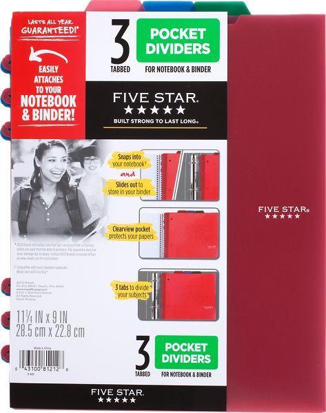 Five Star Tabbed Pocket Dividers 3 Pack - Education Organization Supplies