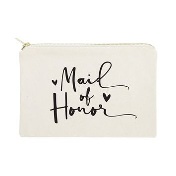 The Cotton & Canvas Co. Maid of Honor Wedding Cosmetic Bag, Bridal Party Gift and Travel Make Up Pouch