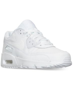 Nike Boys' Grade School Air Max 90 Leather Running Shoes, Boy's, White