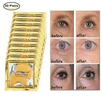 GARYOB 30 Pairs Gold Eye Mask Powder Crystal Gel Collagen Eye Pads For Anti-Aging & Moisturizing Reducing Dark Circles, Puffiness, Wrinkles