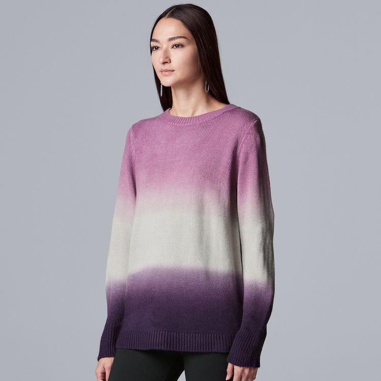 Women's Simply Vera Vera Wang Cozy Tie-Dye Sweater, Size: Large, Drk Purple