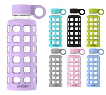 purifyou Premium Glass Water Bottle with Silicone Sleeve & Stainless Steel Lid Insert, 32 oz, Lavender