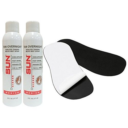 Self Tanning Spray Medium Micro-Mist Spray, At Home Airbrush Spray Tan 2-Pack + Sticky Feet Pads - Natural Sunless Airbrush, Body and Face for Bronzing and Golden Tan - Very Dark Sunless Bronzer